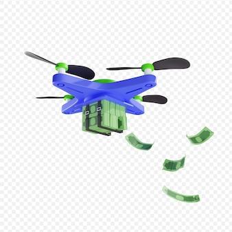 3d доставка пачки денег с помощью дрона современные технологии сбережения и финансы концепция