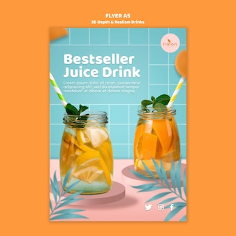 3d depth and realism drinks flyer template