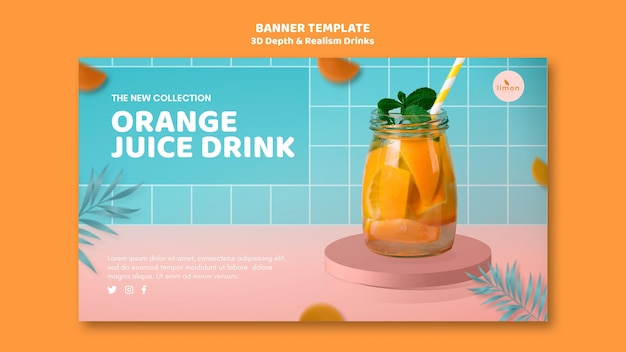 3d depth and realism drinks landing page concept
