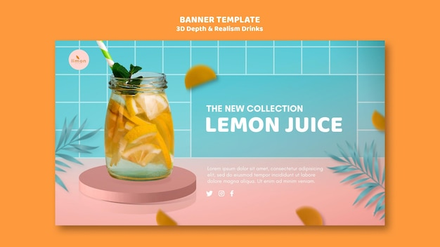 3d depth and realism drinks landing page design