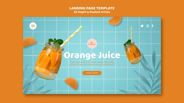 3d depth and realism drinks landing page template