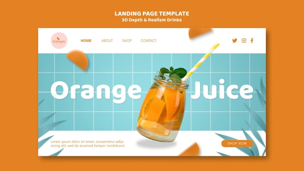 3d depth and realism drinks landing page
