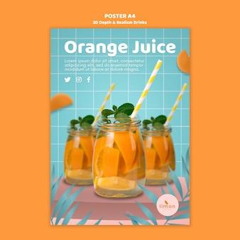 Profondità 3d e realismo bevande poster design