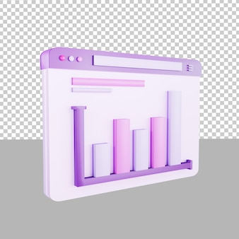 3d design icon dashboard data up illustration for business