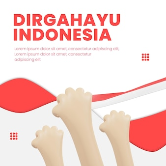 인도네시아 독립 이후 3d 디자인 소셜 미디어