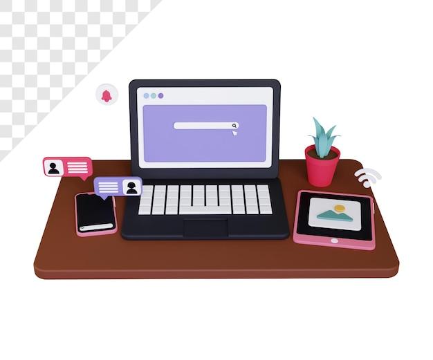 ノートパソコンのスマートフォンとタブレットを搭載した3dデバイス