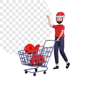 3d discount on christmas day shopping with a shopping cart