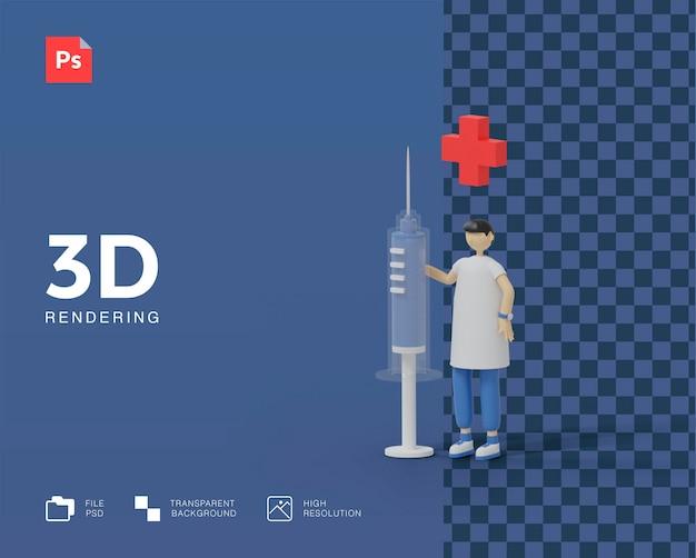 3d доктор с иллюстрацией инъекции