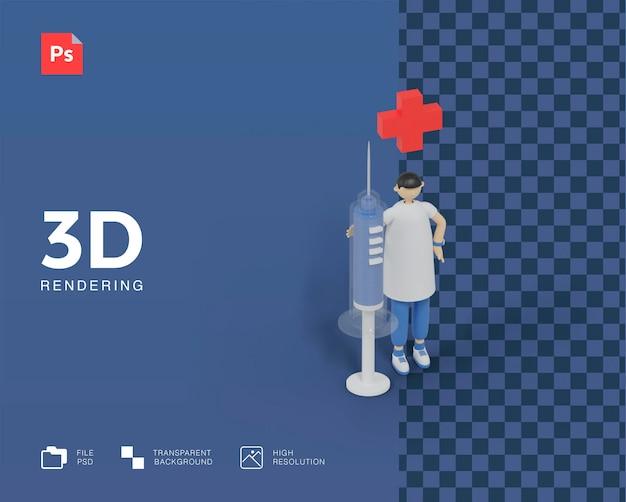 3d доктор с иллюстрацией инъекции Premium Psd