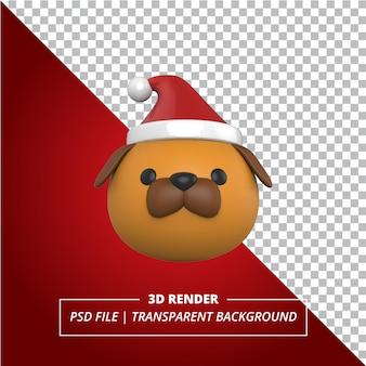 透明な背景にクリスマスの帽子と3d犬の頭