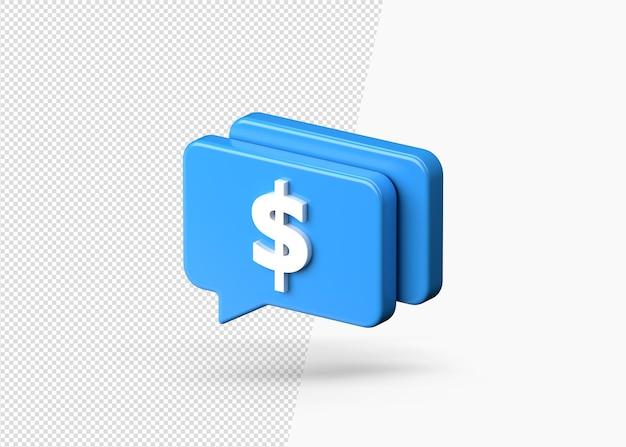 3d 달러 채팅 또는 메시징 비즈니스 개념 절연