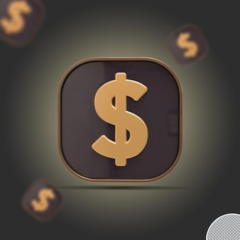 3d доллар монета золотой визуализации