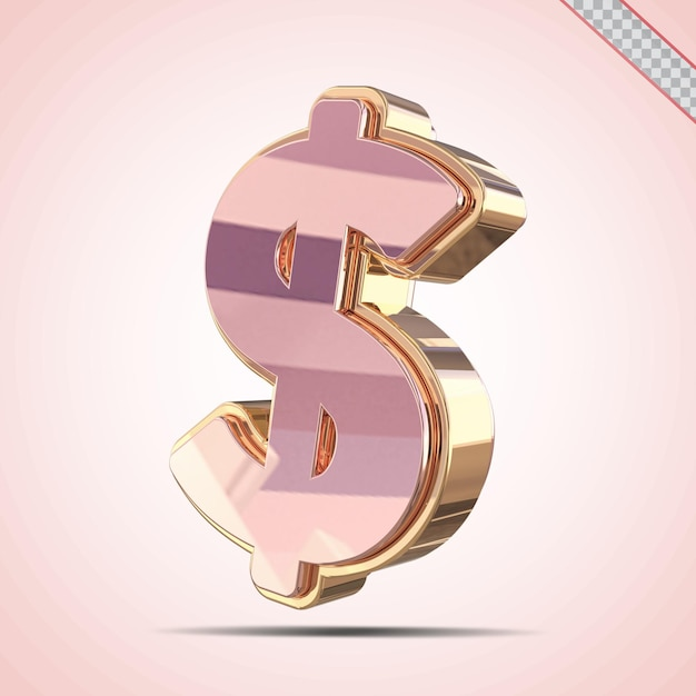 3d доллар золото с розовым стилем