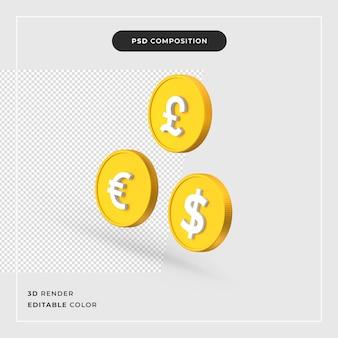 3 d ドル ポンド ユーロ現実的な概念