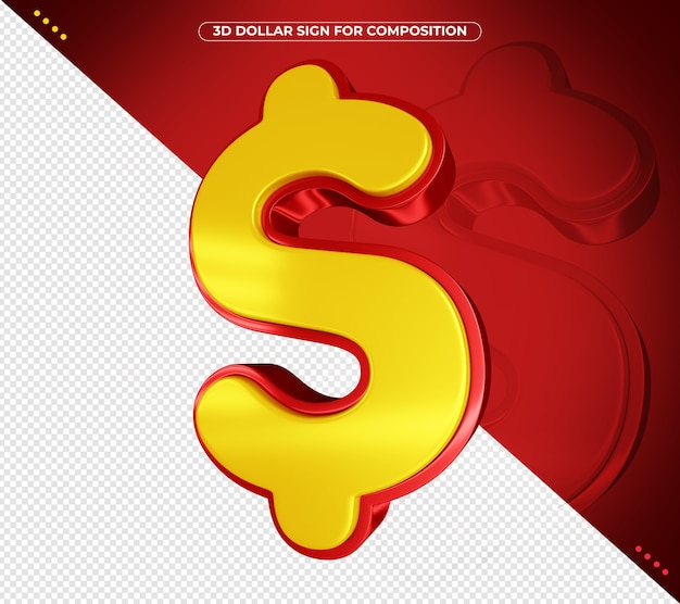 3d dollar sign for composition isolated
