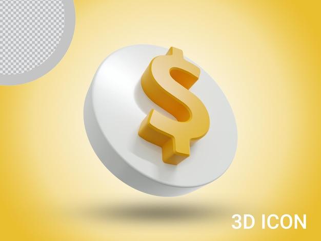 3d значок знак доллара премиум дизайн