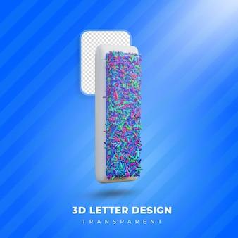 3d donut letter design creative fonr design
