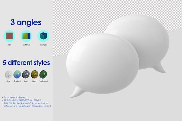 Значок речи 3d двойной пузырь