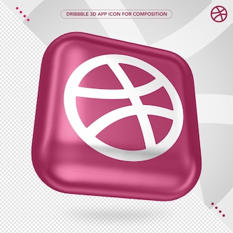 3d dribbble app rotated for composition