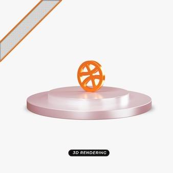 3 d ドリブル オレンジ アイコンのリアルなレンダリング