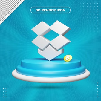 3d drop box rendering icon