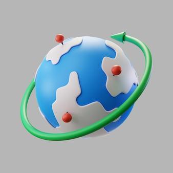 Pinpoints와 회전 화살표와 함께 3d 지구 지구