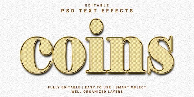 3d編集可能なテキスト効果coinsスタイル