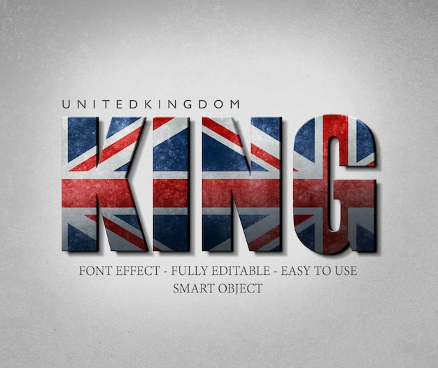 3​d effect font united kingdom flag