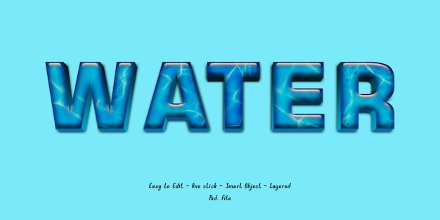3d effect font with water texture