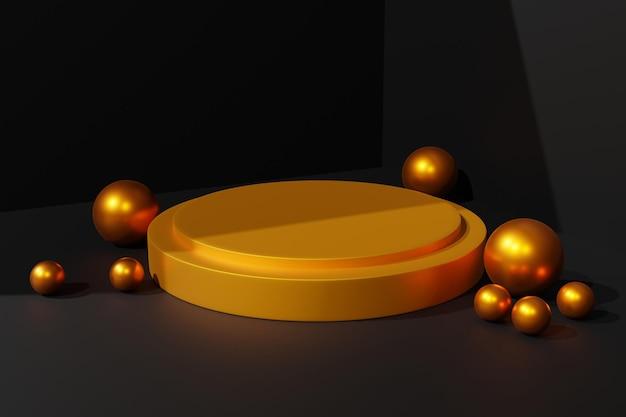 3dエレガントな金の表彰台ステージの背景