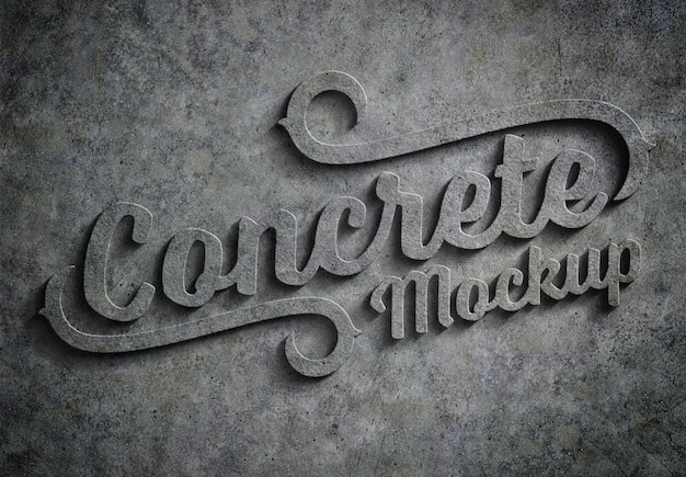 3d embossed concrete text effect mockup