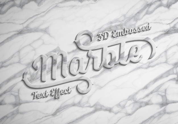 3d embossed marble text effect mockup