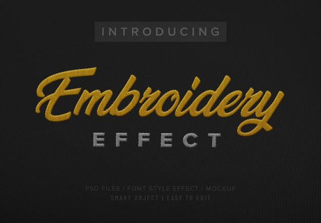 3d embroidery fabric font style effect template