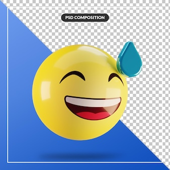 소셜 미디어 구성을 위해 고립 된 땀으로 3d 이모티콘 웃는 얼굴
