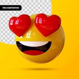 3d смайлики улыбающееся лицо с глазами-сердечками, изолированные для композиции в социальных сетях premium psd