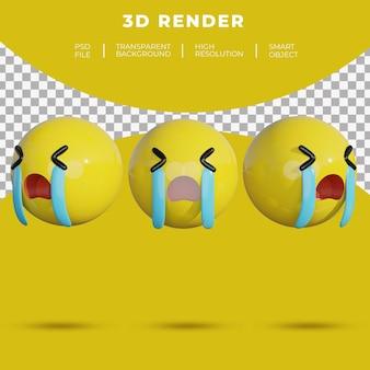3d絵文字ソーシャルメディアは陽気な笑顔のレンダリングに直面します