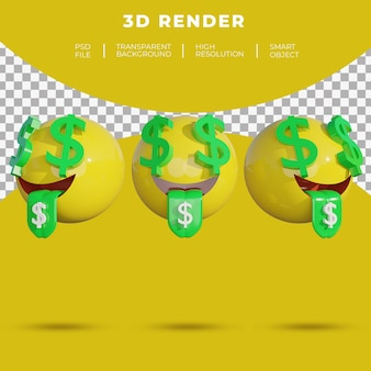 3d 이모티콘 소셜 미디어 얼굴 돈 달러 지향 렌더링