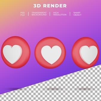 3d emoji 소셜 미디어 사랑 버튼 아이콘 렌더링