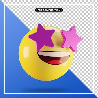 3d emoji star struck face isolated for social media composition