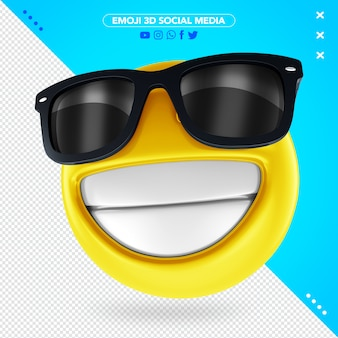 3d emoji with black sunglasses and a cheerful smile