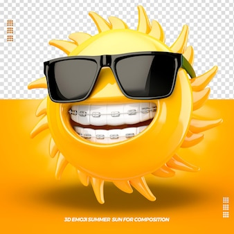 3d emoji with glasses right and isolated dental device isolated