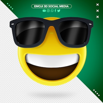3d emoji with sunglasses and a cheerful smile