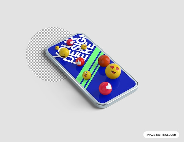 전화 화면에 3d 이모티콘