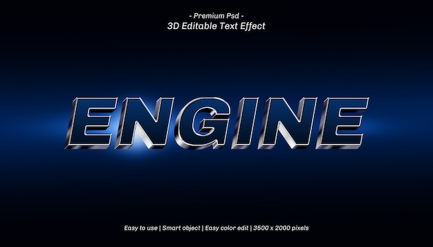 3d engine editable text effect Premium Psd
