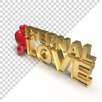 3d eternal love text for valentine celebration gold render with heart