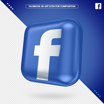 3d facebook app rotated button mockup
