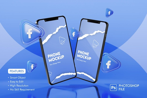 3d facebook apps icon with smartphone mockup