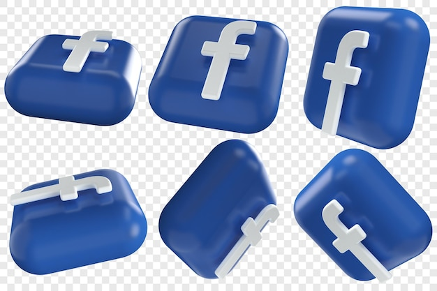 3d иконки facebook в шести разных ракурсах, изолированные иллюстрации
