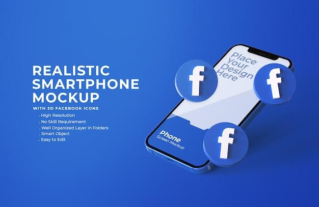 3d иконки facebook с макетом мобильного экрана