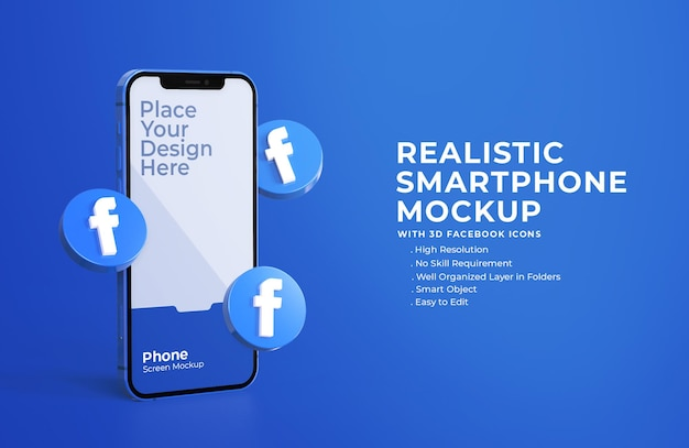 3d facebook icons with mobile screen mockup